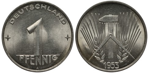 East Germany 1 one pfennig 1953, large digit flanked by stars, compass and hammer in front of ears with long awns, aluminum, Wall mural