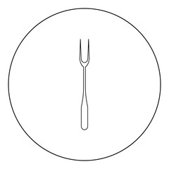 Large Fork black icon in circle vector illustration isolated .