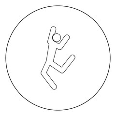 Dancer stick black icon in circle vector illustration isolated .