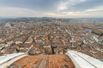 View of the city of Florence from the Brunelleschi dome of the cathedral of Florence.