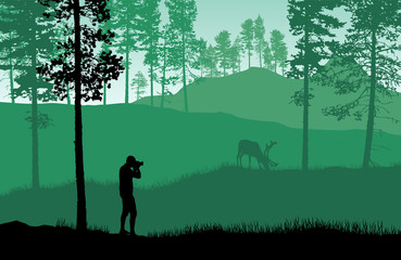 Green landscape vector with a man taking picture of a deer in a forest.