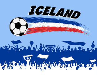 Iceland flag colors with soccer ball and Icelander supporters silhouettes