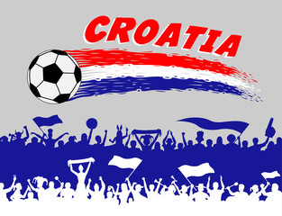 Croatia flag colors with soccer ball and Croatian supporters silhouettes