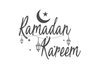 Elegant Ramadan Kareem Lanterns or Fanous Hanging With Colorful Lights in Islamic Pattern Background for the Holy Month Occasion of fasting.