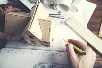 work man hand house model