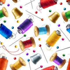 Vector realistic seamless pattern with sewing tools. Decorative background with supplies for tailoring and needlework, pins, spools of thread, needles. Colorful print for textile products, wrapper