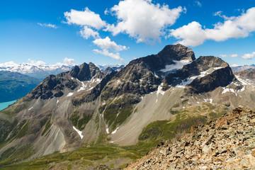Beautiful Swiss Alps mountain landscape near Saint Moritz.