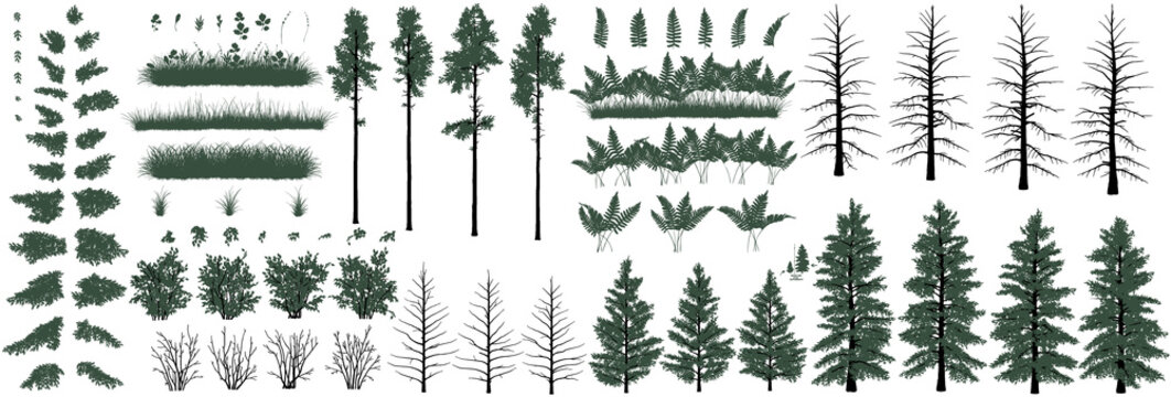 Large set of realistic natural objects: trees, bushes, herbs and grass