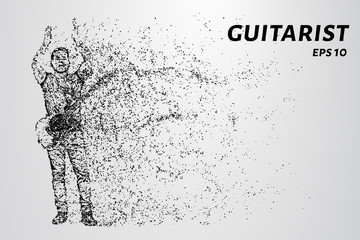 Particle guitarist. Guitarist applause over his head.
