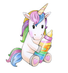 Cute baby  unicorn cartoon, isolated on white.