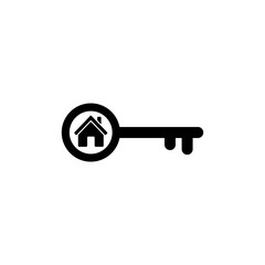 Home key icon in flat style. Simple estate symbol
