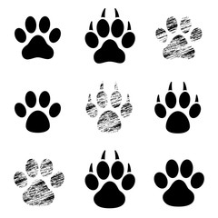 Black set Paw Print - stock vector.