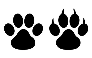 Black Paw Print - stock vector.