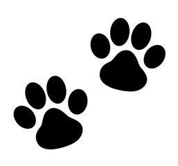 Black Paw Print - stock vector.