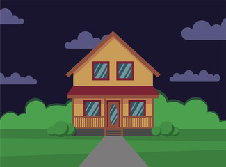 Traditional house. Family home. Night. Flat design vector concept illustration. - stock vector the flat style.
