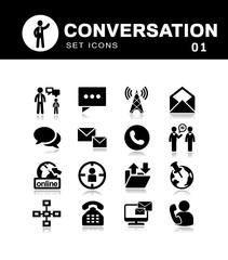 Communication icons black vector set of conversations, messages.