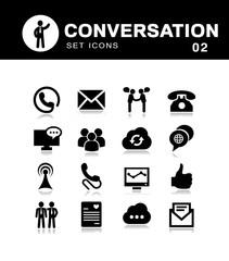 Communication icons black vector set of conversations.