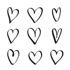 Set of hand drawn hearts - stock vector.