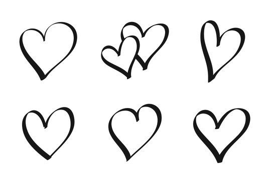 Set of hand drawn hearts - stock vector.