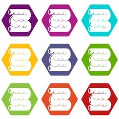 Large intestine icons 9 set coloful isolated on white for web