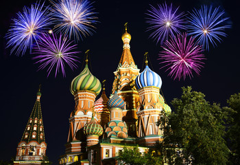 Fireworks over Saint Basil's Cathedral, Moscow