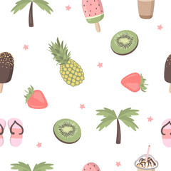 Vector cartoon seamless pattern with funny summer things illustrations- ice cream, fruit, palm, whale, slippers