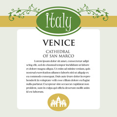 Designe page or menu for Italian products. It can be a guide with information about Italian city of Venice.
