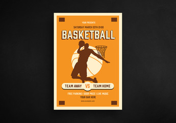 Basketball Flyer Layout with Player Silhouette