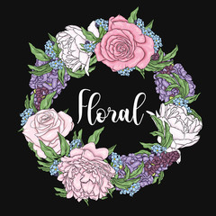 Wreath of peonies, roses and wisteria. Delicate flowers. Garden, spring and summer. Vector illustration.