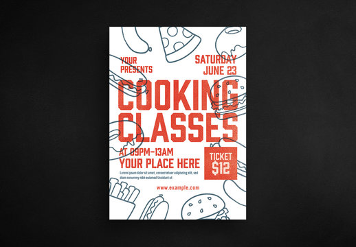 Cooking Class Flyer Layout with Outlined Food Illustrations