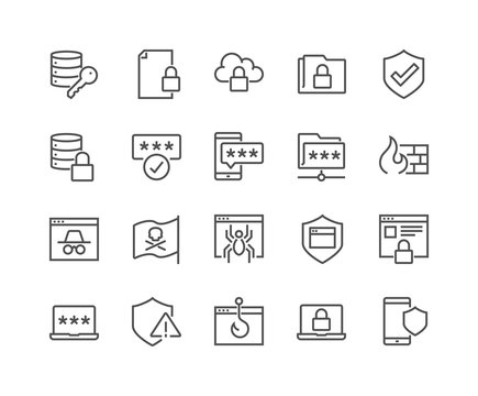 Simple Set of Data Security Related Vector Line Icons. Contains such Icons as Firewall, Pirate Flag, Web Spider, Password and more. Editable Stroke. 48x48 Pixel Perfect.