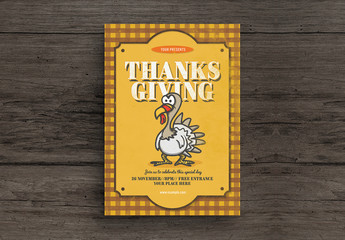 Thanksgiving Flyer Layout with Turkey Illustration