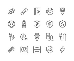 Simple Set of Surge Protector Related Vector Line Icons. Contains such Icons as American European Socket, USB Charge, Child Protection and more. Editable Stroke. 48x48 Pixel Perfect.