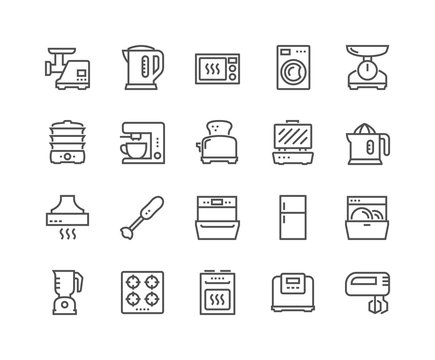 Simple Set of Kitchen Appliances Related Vector Line Icons. Contains such Icons as Meat Grinder, Boiler, Multicooker and more. Editable Stroke. 48x48 Pixel Perfect.