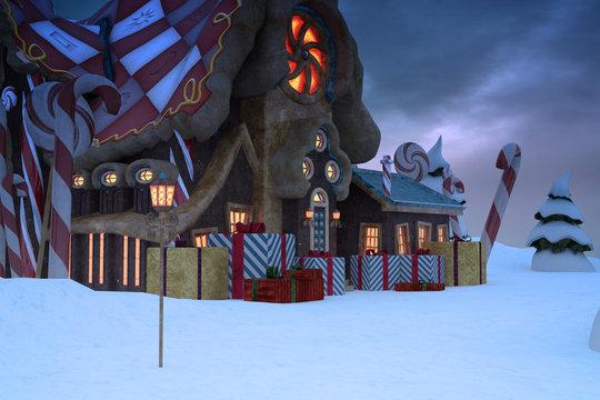 Santas workshop background, 3d render.