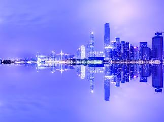 Fototapeta Guangzhou,China modern city skyline panorama on the zhujiang river at night