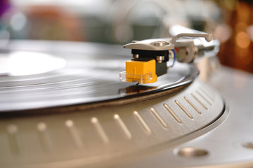 Big Yellow Turntable Needle Cartridge Stylus Transmits Sound from Record