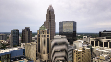 Aerial View in close between the buildings of Charlotte North Carolina Downtown