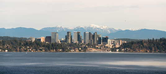 View Across Lake Washington to Bellevue Downtown City Skyline