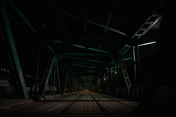 The tram tracks of Most Gdanski Bridge in Warsaw at night