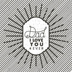happy fathers day sunburst emblem vector illustration design