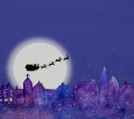 Santa claus with sleigh and reindeers are flying over the town at the night of Christmas holiday celebration, use watercolor painting with town