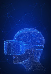 Virtual reality technology network futuristic hud polygon 3d human's head with VR headset on peer to peer network background represent high technology and digital device concept. Vertical layout.