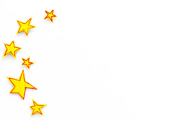 Stars frame. Drawn stars on white background top view space for text