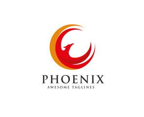 phoenix circle logo vector, circle eagle head vector icon logo template