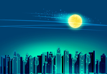 Night city, skyscrapers. Vector illustration
