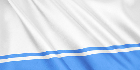 Altai Republic flag waving with the wind, wide format, 3D illustration. 3D rendering.