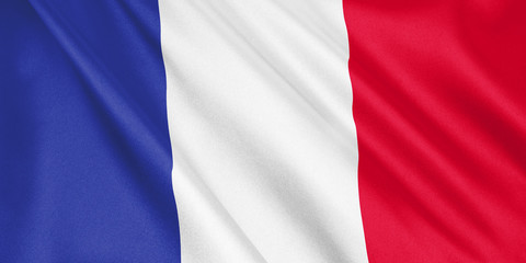 France flag waving with the wind, wide format, 3D illustration. 3D rendering.
