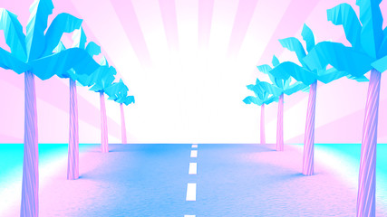 Retro road to the beach. 3d rendering picture.