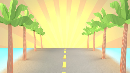 Cartoon road to the beach. 3d rendering picture.